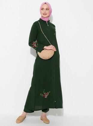 Green - Unlined - Crew neck - Cotton - Abaya