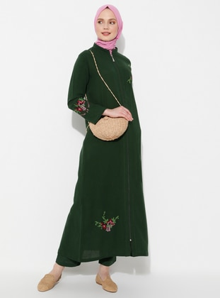 Green - Green - Unlined - Crew neck - Cotton - Abaya