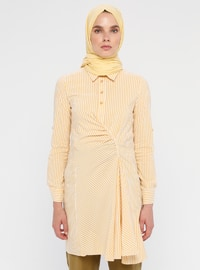 Yellow - Stripe - Point Collar - Unlined - Cotton - Nylon - Dress