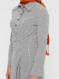 Black - Stripe - Point Collar - Unlined - Cotton - Nylon - Dress