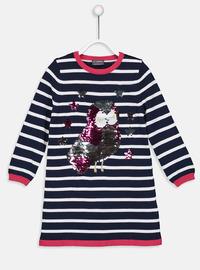Stripe - Navy Blue - Girls` Dress
