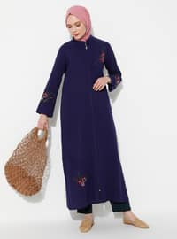 Purple - Purple - Unlined - Crew neck - Cotton - Abaya