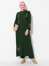 Green - Green - Unlined - Crew neck - Cotton - Abaya