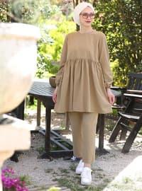 Bej - Astarsız Kumaş - Pamuk - Takım Elbise