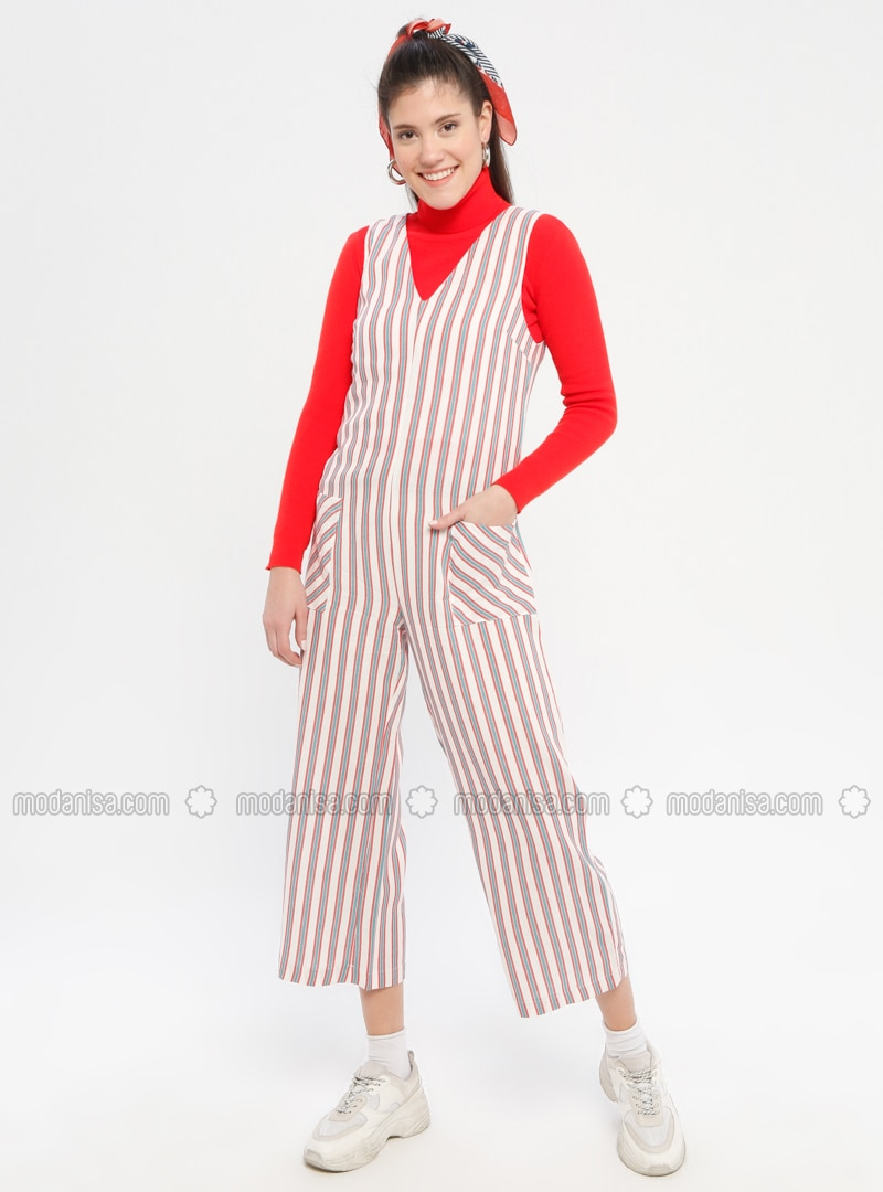 Red - Stripe - Fully Lined - V neck Collar - Jumpsuit