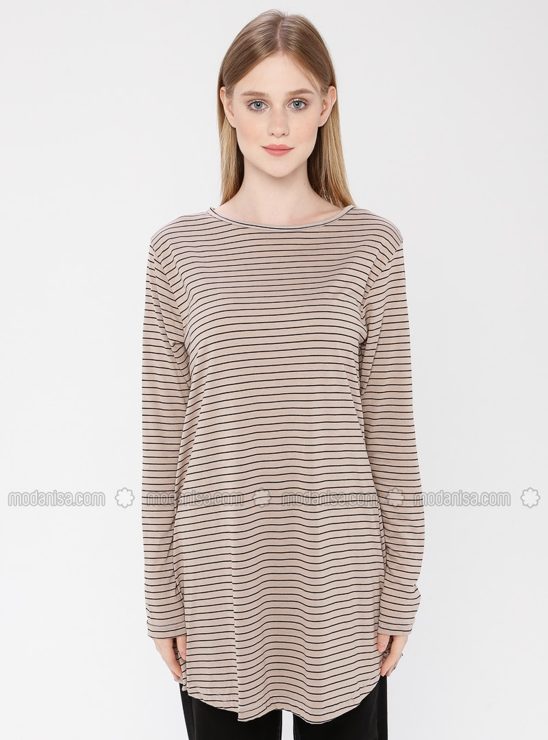Mink - Stripe - Crew neck - Cotton - Tunic