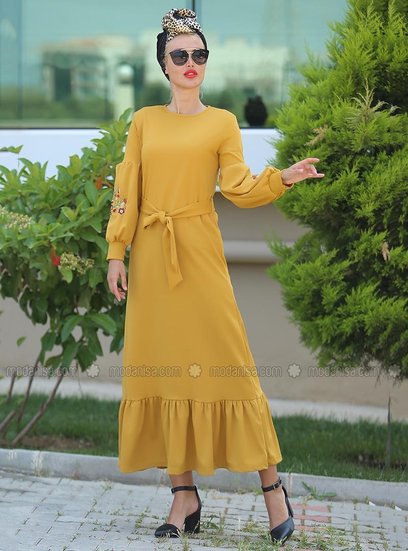 Hardal - Yuvarlak yakalı - Astarsız kumaş - Elbise