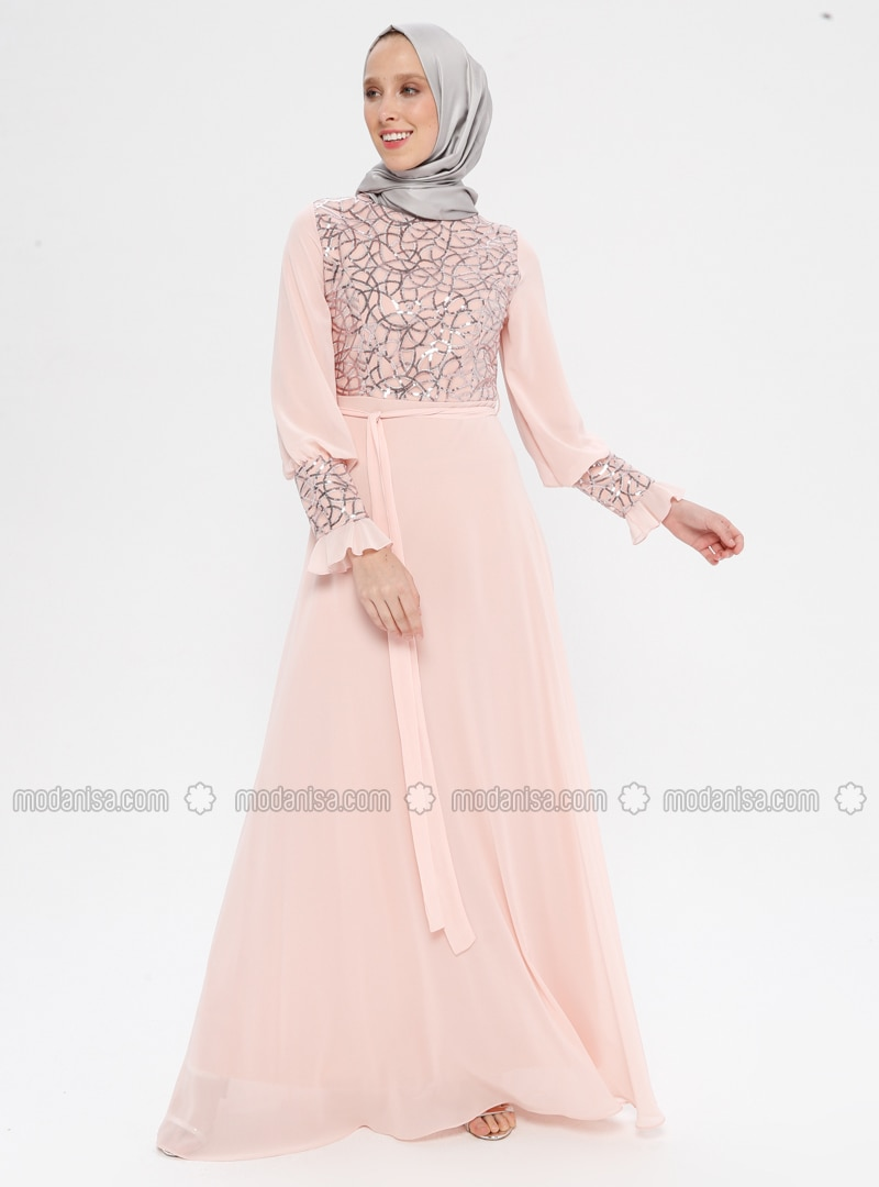 Pink - Fully Lined - Crew neck - Muslim Evening Dress