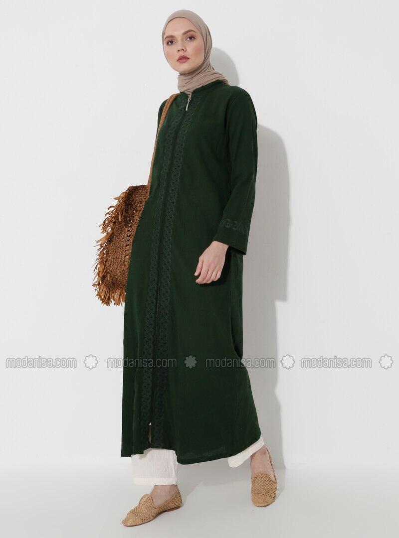 Green - Green - Unlined - Crew neck - Point Collar - Cotton - Abaya