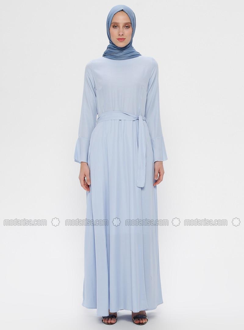 Bleu Bleu Ciel Col Rond Tissu Double Robe