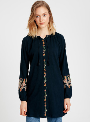 Printed - Navy Blue - Tunic