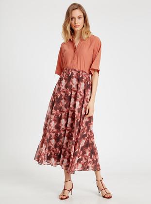 Printed - Maroon - Skirt