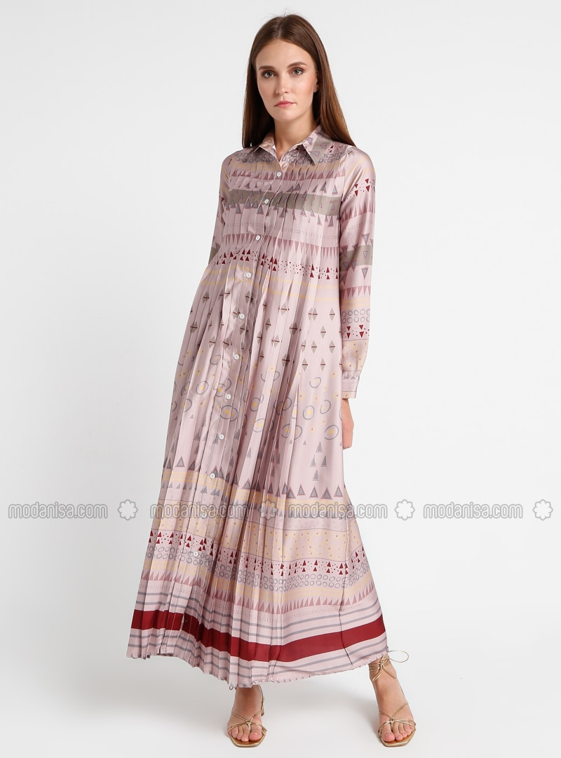 Mink - Dusty Rose - Multi - Point Collar - Fully Lined - Dress