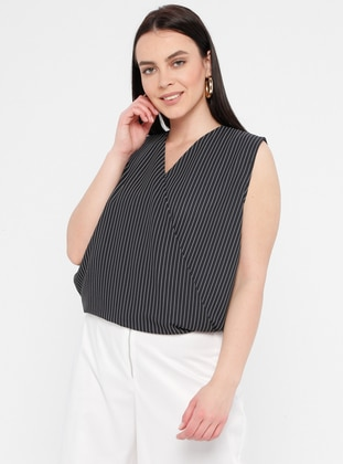 Black - Stripe - Crew neck - Plus Size Blouse