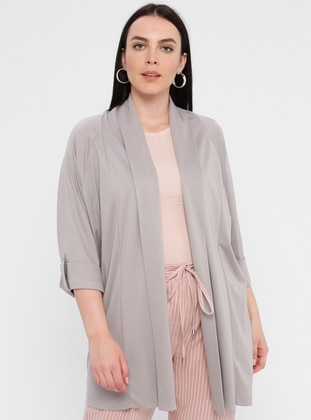 Gray - Plus Size Cardigan