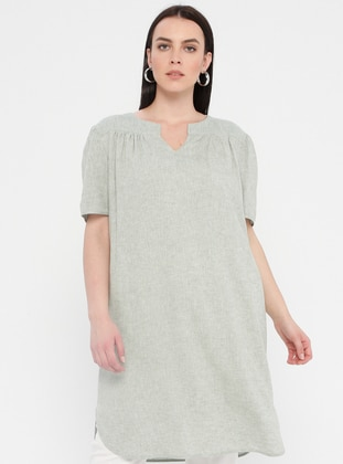 Mint - Fully Lined - V neck Collar - Cotton - Plus Size Dress