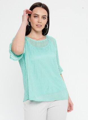 Mint - Crew neck - Plus Size Blouse