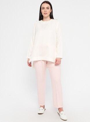 Pink - Viscose - Plus Size Pants