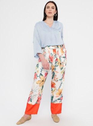 Orange - Floral - Cotton - Plus Size Pants
