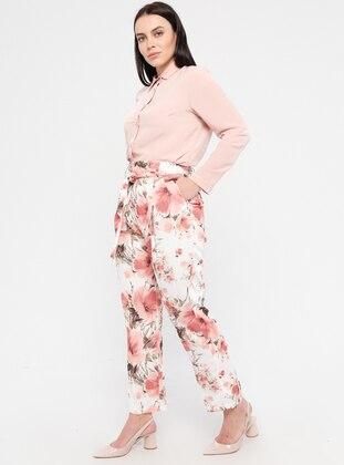 Dusty Rose - Floral - Plus Size Pants