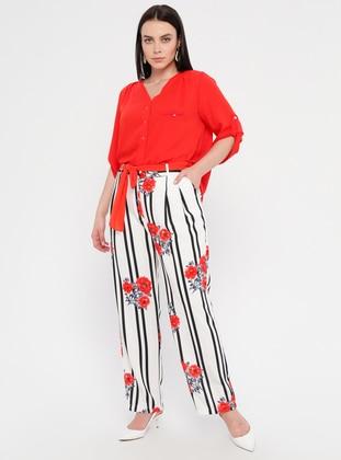 Red - Black - Multi - Plus Size Pants