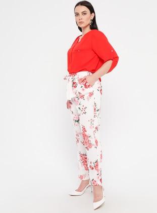 Coral - Floral - Plus Size Pants