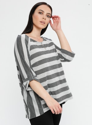 Gray - Stripe - Crew neck - Plus Size Blouse