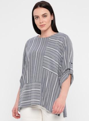 Indigo - Stripe - Crew neck - Viscose - Plus Size Blouse