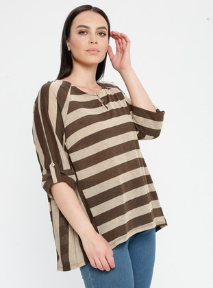 Brown - Stripe - Crew neck - Plus Size Blouse