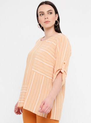 Yellow - Stripe - Crew neck - Viscose - Plus Size Blouse