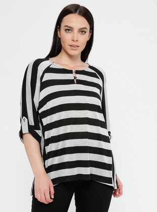 Black - Stripe - Crew neck - Plus Size Blouse - SLN