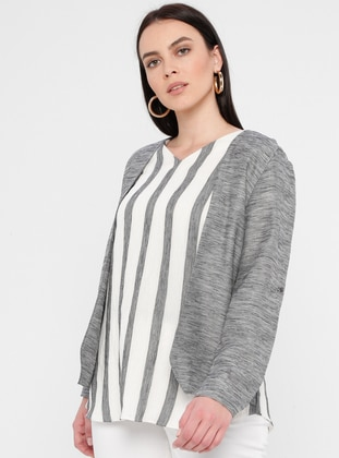 Gray - Stripe - V neck Collar - Linen - Viscose - Plus Size Blouse