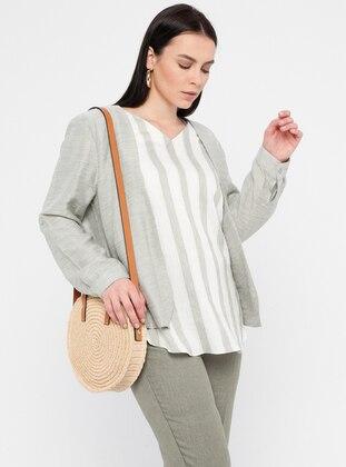 Khaki - Stripe - V neck Collar - Linen - Viscose - Plus Size Blouse