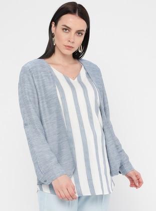 Blue - Stripe - V neck Collar - Linen - Viscose - Plus Size Blouse