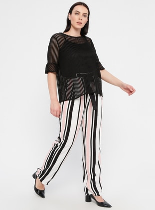 Pink - Stripe - Viscose - Plus Size Pants