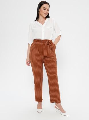 Tan - Stripe - Plus Size Pants