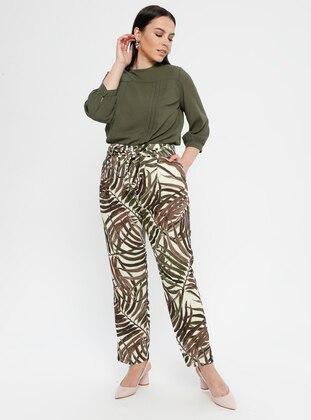 Brown - Multi - Plus Size Pants