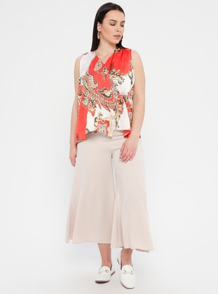 Beige - Plus Size Pants
