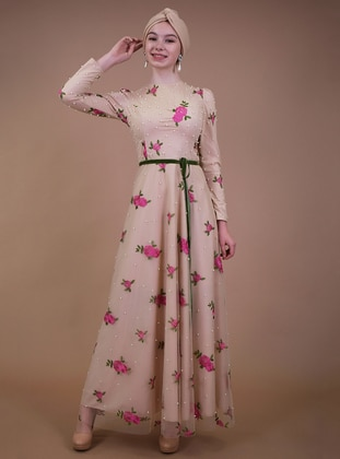 Beige - Fuchsia - Fully Lined - Muslim Evening Dress