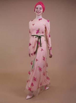 Salmon - Fuchsia - Fully Lined - Muslim Evening Dress