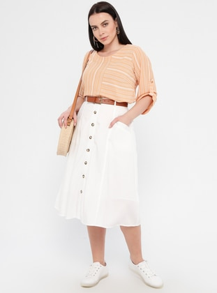 Ecru - Fully Lined - Plus Size Skirt