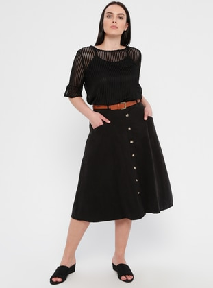 Black - Fully Lined - Plus Size Skirt
