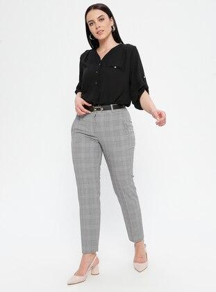 Pink - Plaid - Viscose - Plus Size Pants