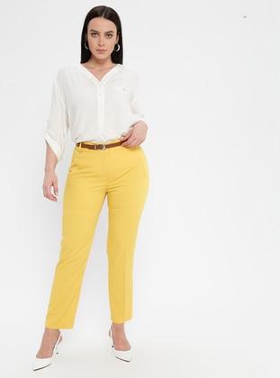 Yellow - Cotton - Plus Size Pants