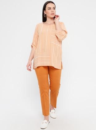 Tan - Nylon - Plus Size Pants