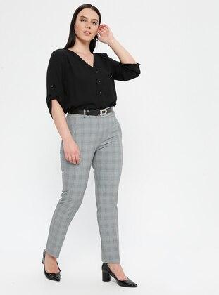 Green - Plaid - Viscose - Plus Size Pants