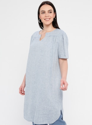 Blue - Fully Lined - V neck Collar - Cotton - Plus Size Dress