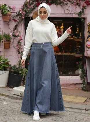 Gray - Unlined - Cotton - Denim - Skirt