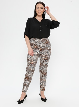 Camel - Leopard - Plus Size Pants