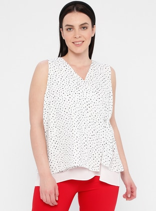 White - Polka Dot - V neck Collar - Plus Size Blouse